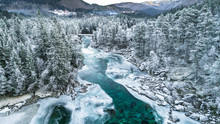Mountain River In Winter. Hordaland, Norway.
