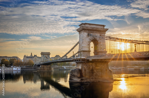 Budapest, Hungary - Beautiful sunrise at Szechenyi Chain Bridge