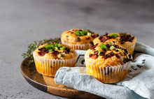 Savory Muffins With Bacon, Quail Egg, Green Onion Cheese On A Grey Stone Backdrop. Protein Breakfast. Rustic Style.