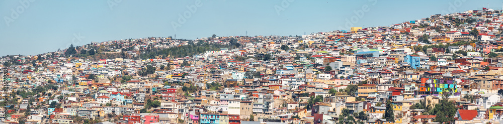 Panoramic view of Houses of Valparaiso view from Cerro Concepcion Hill - Valparaiso, Chile
