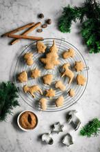 Overhead View Of Vegan Gingerbread Cookies On Cooling Rack