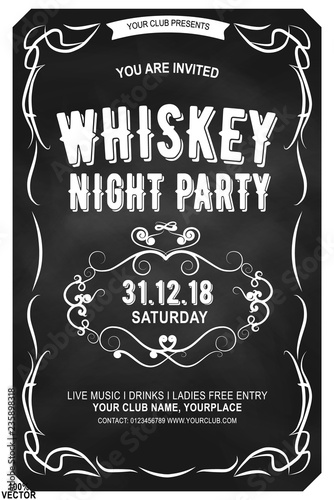 Ornate serif extended font in retro style  Scotch whiskey