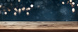 canvas print picture - Wooden table with dark blue christmas background