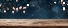 Wooden Table With Dark Blue Ch...