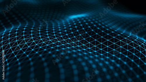 Photo Stands Fractal waves Abstract futuristic wave background. Wave of particles. Wave with connecting dots and lines. 3d rendering.