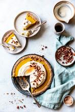 Overhead View Of Pumpkin Cream Pie Served On Plate
