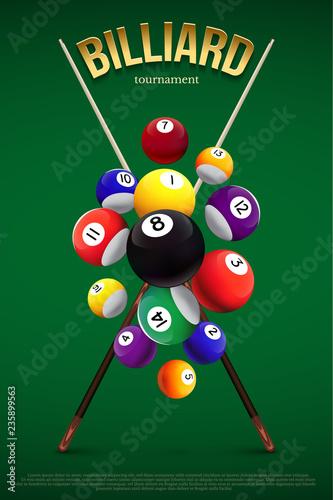Canvas Print Billiard tournament poster template