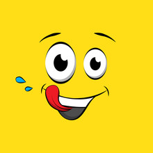 Hungry Emoticon Or Emoji Face On Yellow Background. Yummy Yellow Smiley In Comic Book Style. Vector Emoji Tasty Icon.