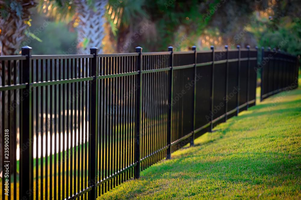 Fototapeta Black Aluminum Fence 3 Rails
