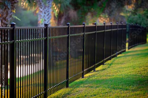 Fotografie, Obraz Black Aluminum Fence 3 Rails
