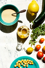 Overhead View Of Greek Salad Ingredients