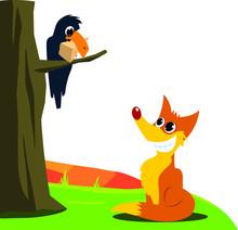 Crow And Fox Fable Vector Illu...
