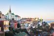 canvas print picture - Valparaiso Skyline with Lutheran Church - Valparaiso, Chile