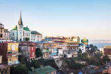 Valparaiso Skyline With Lutheran Church - Valparaiso, Chile