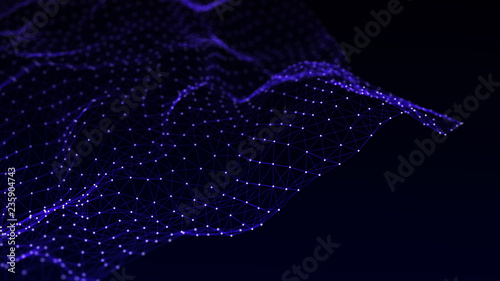 Fototapeta Abstract polygonal space. Network connection structure. Dark background with connecting dots and lines. Big data digital background. 3d rendering. obraz na płótnie