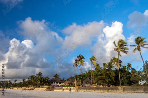 The village on the shores of the Indian Ocean. Zanzibar, Tanzania, East Africa.