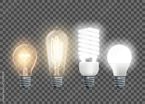 Tungsten, Edison, fluorescent and led light bulbs Canvas Print