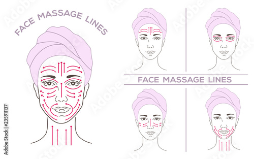 Fotografía Face of a beautiful young woman in a spa salon, in a turban, a towel