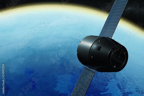Fotografía  3D rendering of a satellite orbiting the earth