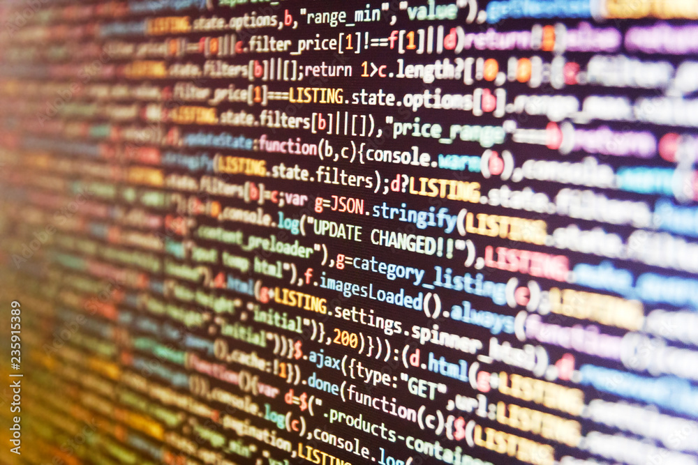 Fototapety, obrazy: Template of website, selective focus. Programming code abstract screen of software developer. Art design website digital page.  PHP code abstract technology background.