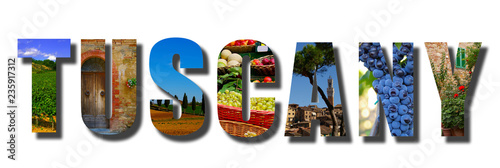 Tuscany Italy banner collage on white