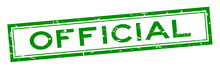 Grunge Green Official Word Square Rubber Seal Stamp On White Background