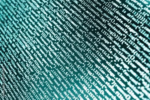 Programming text on dark screen  HTML website structure