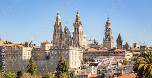 Santiago de Compostela view and amazing Cathedral of Santiago de Compostela with the new restored facade