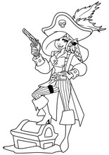 Full Length Line Art Illustration Of A Beautiful Woman Wearing Pirate Costume While Holding A Pistol Against White Background For Copy Space.