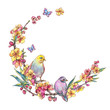 Watercolor spring round frame, vintage floral wreath with birds, blooming branches of cherry, sakura