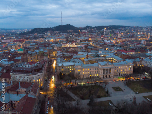 Photo Stands Kiev panoramic view of old european city in the evening. city light
