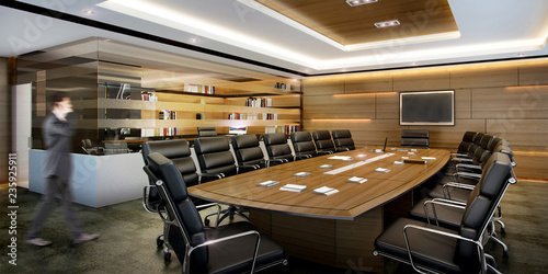 Fotografía  3d rendering business meeting room on high rise office building