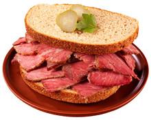 SALT BEEF SANDWICH ON RYE BREAD CUT OUT