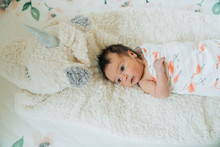 Newborn Baby In A Swaddle Lying Down