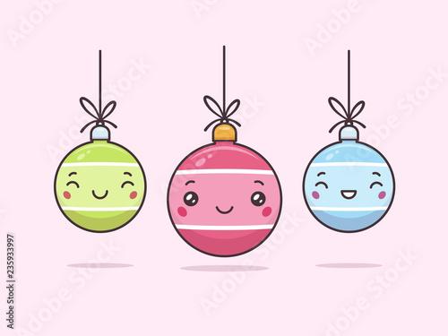 Cute Kawaii Christmas Baubles With Faces Vector Cartoon