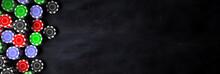 Poker Chips Piles On Black Background, Banner, Copy Space. 3d Illustration