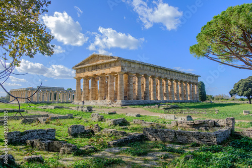 Poster Athene Scenic view of ruins of ancient greek temple in ancient touristic town Paestum in Italy