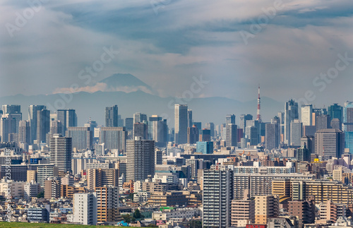 Fotobehang Stad gebouw Building of Tokyo city with Tokyo tower and skyline of Fuji mountain in Japan
