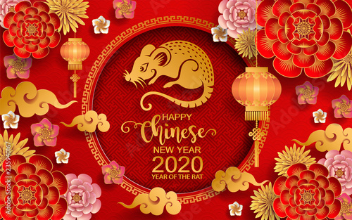 Chinese New Year 2020 Zodiac.Happy Chinese New Year 2020 Zodiac Sign With Gold Rat Paper