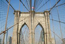 Brooklyn Bridge With Typical New York City Skyline