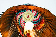 Close Up Of Flames Inside A Hot Air Balloon
