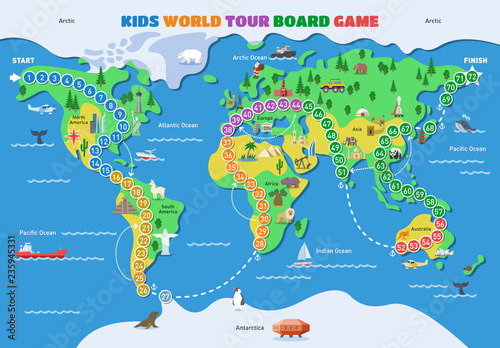 Board game vector world gaming map boardgame with ocean continents
