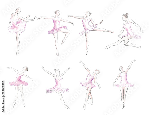 Deurstickers Art Studio Classical ballet woman-dancers