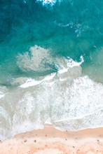 Aerial Of Beach Waves Crashing...