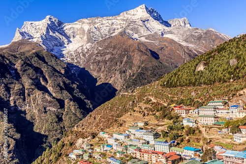 Foto op Canvas Asia land Namche bazar and Kongde Ri peak on the trek to everest base camp in Nepal