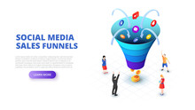 Social Media Sales Funnel Design Concept With People. Isometric Vector Illustration. Landing Page Template For Web.