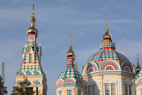 Golden domes of the temple, Ascension Cathedral, Almaty, Kazakhstan