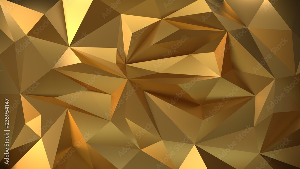 Geometric gold 3d background