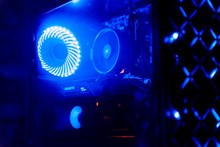 Gaming Computer Case. Transparent Gaming Case Illuminated With Led Coolers