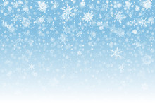 Christmas Snow. Falling Snowflakes On Light Background. Snowfall. Vector Illustration, Eps 10.